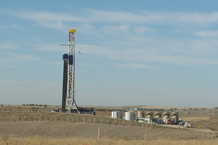 Oil Well being drilled in Norht Dakota Stock Photo