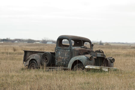 Old classic truck in a North Dakota Pasture photo
