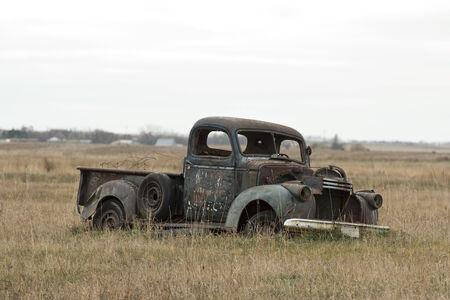 rusty car: Old classic truck in a North Dakota Pasture