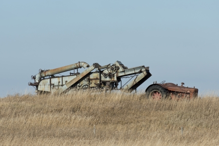 old tractors: Old Tractor and Threshing Machine