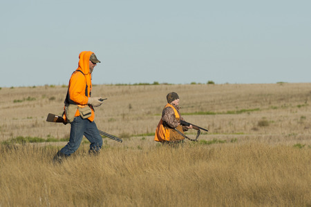 hunting: Father and son hunting Stock Photo