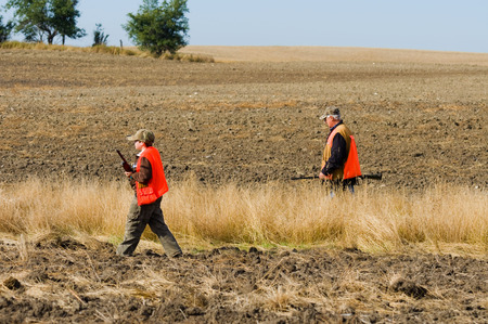 upland: Father and Son hunting Stock Photo