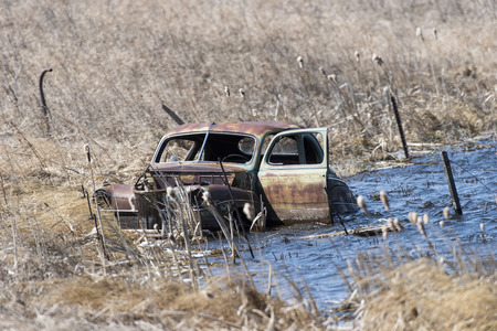 abandoned: Flooded Old Car