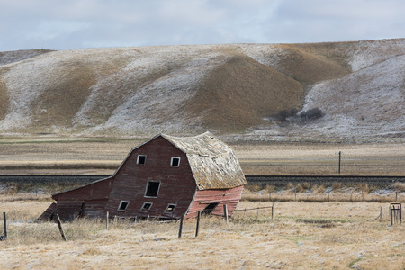 old red barn: An old red barn in North Dakota Stock Photo