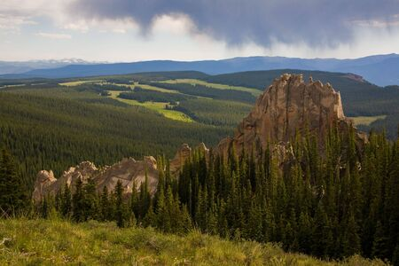 geologic: The afternoon sky opens up over the Wheeler geologic area in the La Garita wilderness.  Colorado, USA.