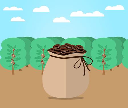 Bag of coffee flat design Illustration