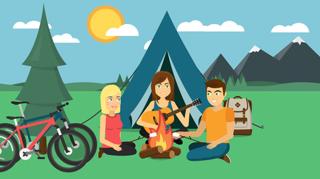 Camping with tent, bonfire, bicycles, guitar, backpack, mountains, sun, forest flat design Illustration