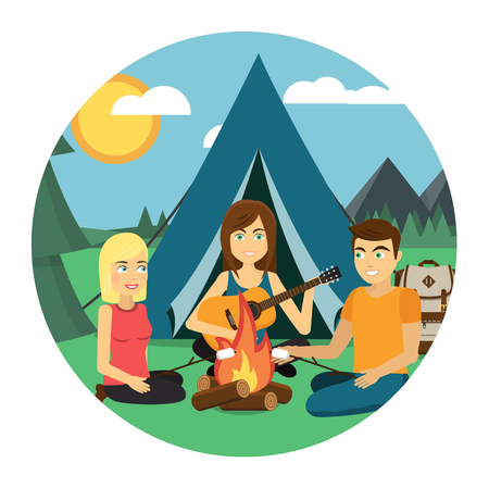Camping with tent, bonfire, guitar, backpack, mountains, sun, forest flat design icon