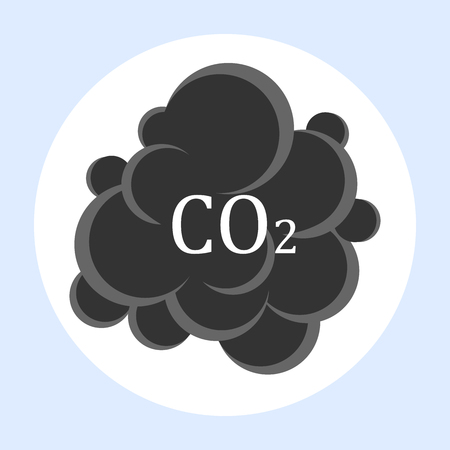 Carbon dioxide cloud carbonic acid gas icon flat design