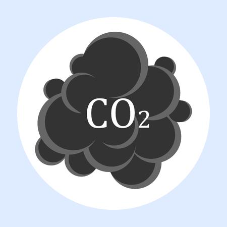 Carbon dioxide cloud carbonic acid gas icon flat design