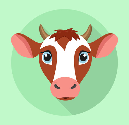 Sweet cow flat design icon
