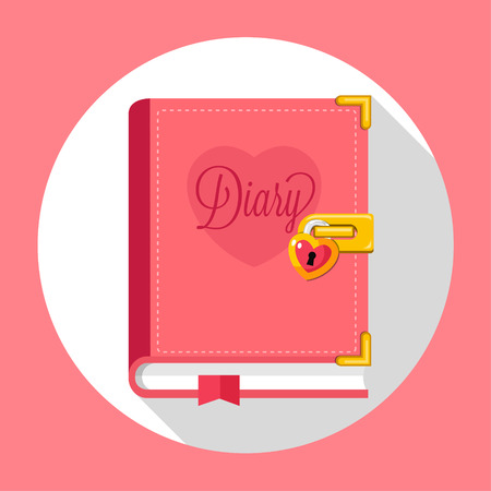 Diary with lock flat design Illustration