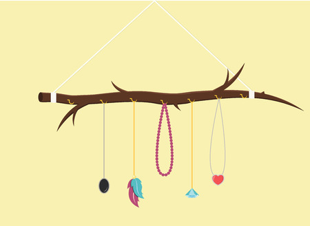 Branch with jewelry DIY Do it yourself handcraft flat design vector graphic