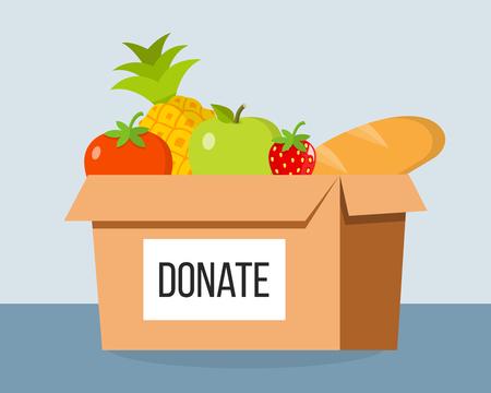 Donation Box food flat design Illustration