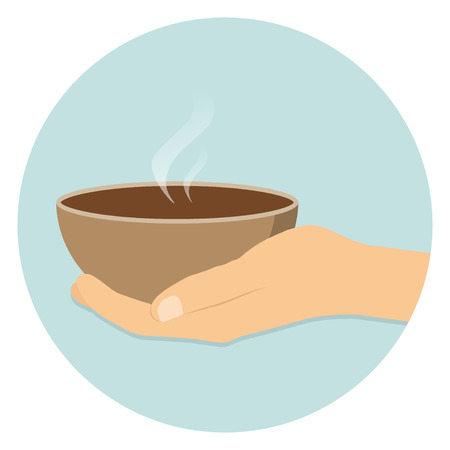 poverty relief: Food donation icon with hand flat design