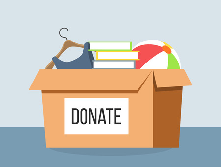 Donation box for refugees flat design