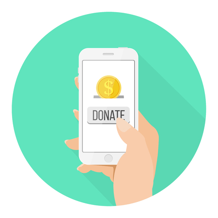 Online Donation icon smartphone with hand and money flat design