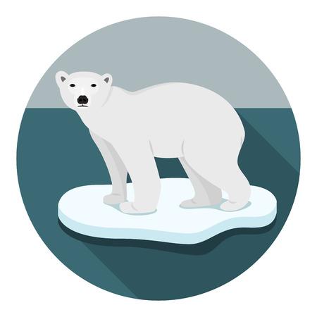 floe: Ice bear on floe climate change catastrophe melting ice vector flat design Illustration