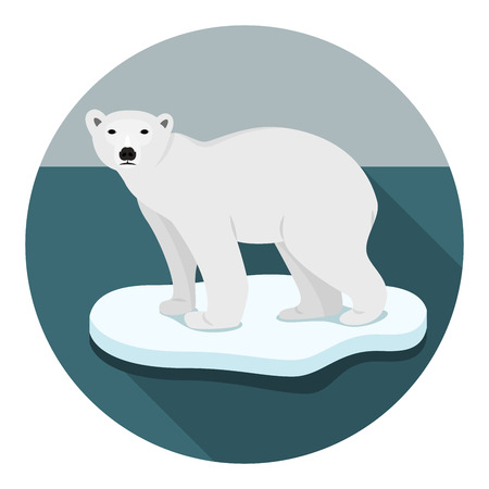 Ijsbeer op floe klimaatverandering catastrofe smeltende ijs vector plat ontwerp