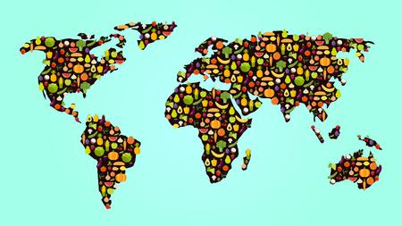 과일과 채소와 평면 디자인에 다채로운 채식 음식지도