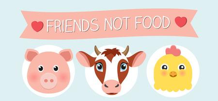Vegan friends not food vector graphic flat design animals pig chicken cow