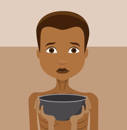 빈 그릇, 세계 기아 벡터 플랫 디자인 배고픈 아이