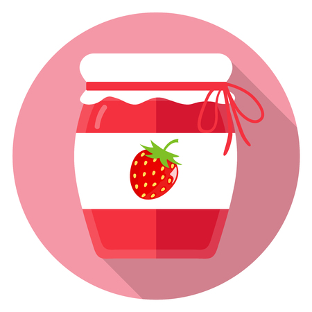 confiture: Glass of jam flat design icon Illustration