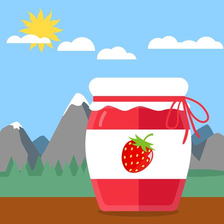 marmalade: Glass of jam flat design icon Illustration