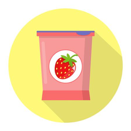 Strawberry yoghurt flat design icon