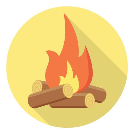 Bonfire flat design icon wood isolated on circle background