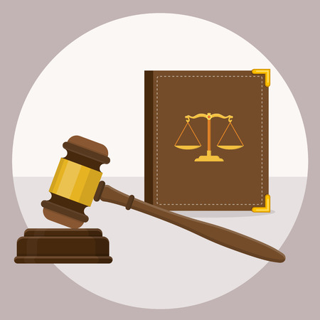 scale of justice: Law gavel with law book scale icon flat design vector graphic