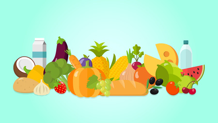 Healthy food vegetables fruit breadflat design