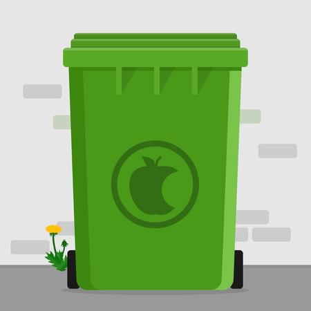 Organic waste dumpster garbage on street container flat design Illustration