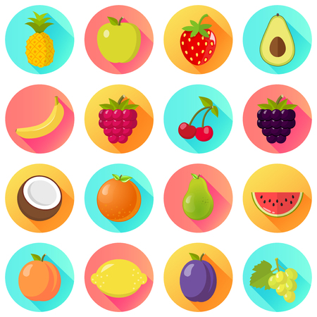 Fruits fruit icon set isolated on a white background