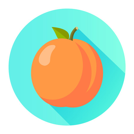 Peach flat design isolated on a circle with shadow Illustration