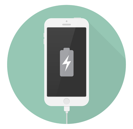 Smartphone battery charge icon flat design Illustration