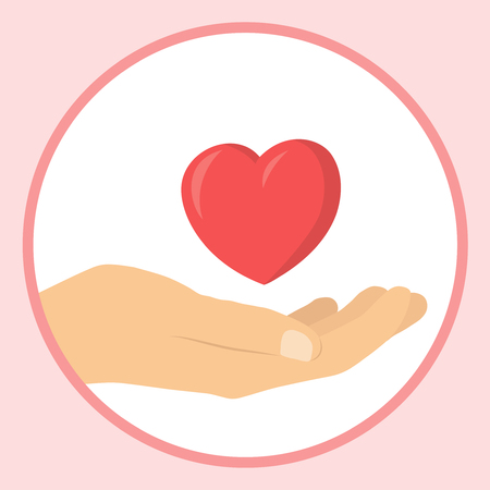 Charity icon heart in hand symbol flat design vector graphic isolated circle Illustration