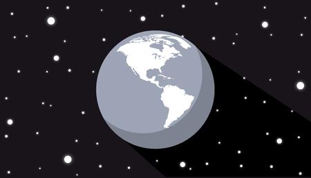 Globe in space sphere flat design