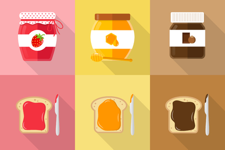 Glasses of spread jam chocolate honey with toast and knife