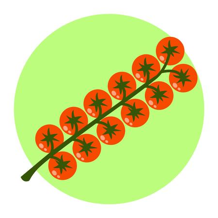 Cherry tomatoes flat design icon Banco de Imagens - 83106607