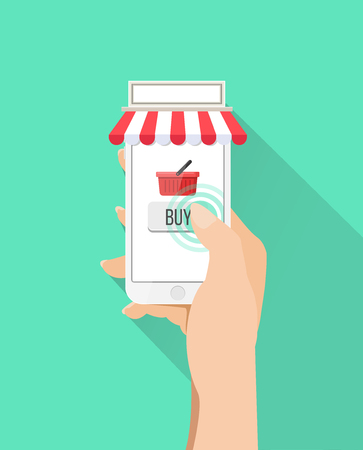 touch screen phone: White mobile phone with touch screen display and buy button shopping basket isolated on white background Illustration