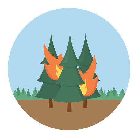 Forest fire icon flat design vector graphic