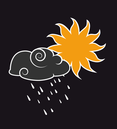 Cloud with rain and a yellow sun Illustration