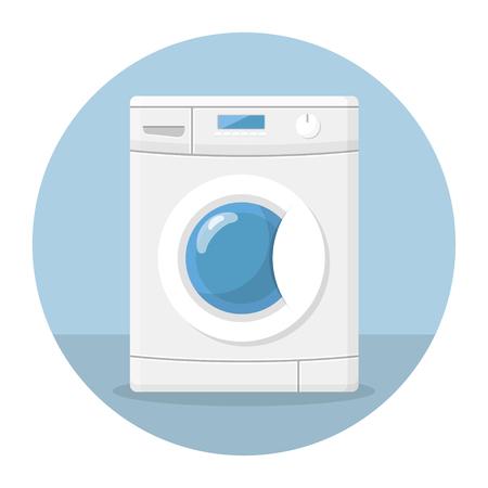washing machine flat design icon Illustration