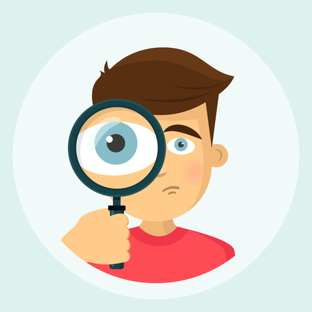 Boy with magnifying glass icon 向量圖像