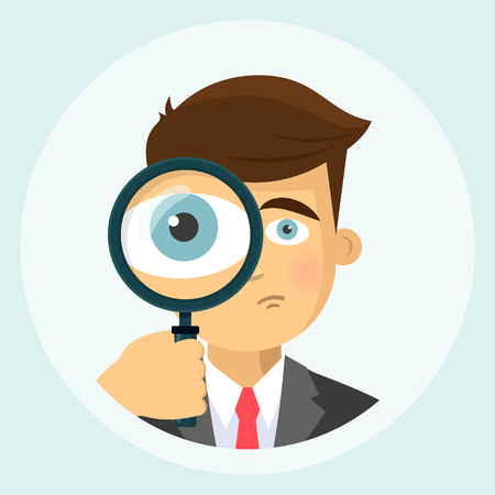 Business man with magnifying glass icon 向量圖像
