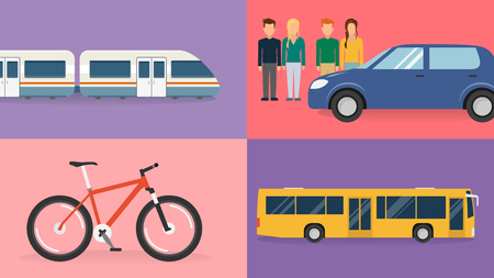 ecologically friendly means of transport flat design