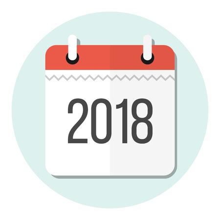 calendar 2018 flat design icon