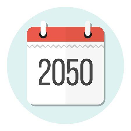 calendar 2050 flat design icon