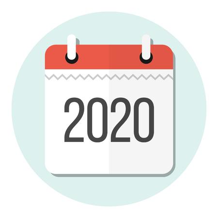 calendar 2020 flat design icon